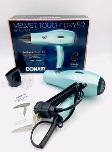 Conair IONIC Velvet Touch BLUE Hair Dryer 1875 Watt Soft Touch W/ Concentrator