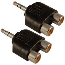 Conector estéreo mini Jack 3.5mm a RCA Fono Doble 2 x Adaptador Convertidor zócalos X 2