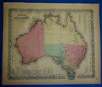 Antique 1860 Colton's Atlas Map ~ AUSTRALIA ~ Old & Authentic ~ Free S&H