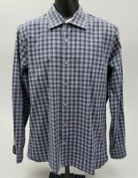 Hickey Freeman Men's Dress Shirt Size Large 100% Cotton Blue Purple Check Plaid