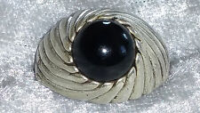 Vintage Sterling silver Sarah Coventry black onyx ring size 9 togetherness 1972.