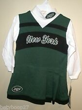 New York Jets Green Toddler Turtleneck Cheerleader Dress 2pc Costume Outfit 3T