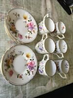 6 Royal Crown Derby English Tea Cups and Saucers Made In England