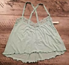 GILLY HICKS Women's Lace Trim Camisole Top Green ( S )