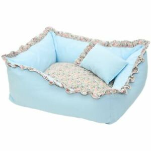 Cotton Pet Dog Cat Bed House Sofa Mat Cushion Kennel Cover Remoable +Pillow Blue