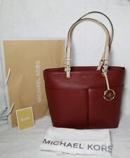 $198 Michael Kors Bedford Leather Handbag Bag MK Brandy Vibrant Glam Purse
