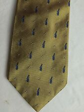 Brooks Brothers Silk Neck Tie Gold Embroidered Blue Golf Bags White Golf Balls