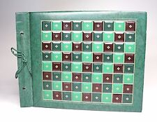 "Vtg Unused Scrapbook Photo Album Green Leatherette Florentine Leather 13"" x 10"""