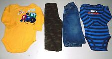 Mixed Lot Of 4  Boys Size 6-9 Months  Long Sleeved One Pieces Jeans & PJ Pants