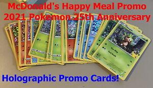 McDonalds Promo 2021 POKEMON 25th Anniversary HOLO Cards #1 - #25 --> You Pick!