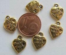 10 breloques perles COEUR made with love métal BRONZE 9mm DIY Bijoux MB66