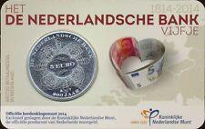 Países Bajos 5 euro 2014 coincard banco neerlandés