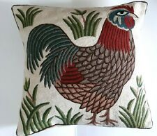 """Handmade Rooster Pillow Cover with Pillow Completed Crewel Embroidery 15"""" X 15"""""""