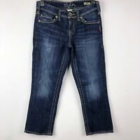 Silver Jeans Aiko Capri Skinny Crop Jeans Size 25 Denim Dark Wash