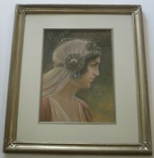 GORGEOUS 19TH CENTURY ORIGINAL DRAWING ANTIQUE ART NOUVEAU DECO ERA SIGNED WOMAN
