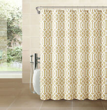 Gold Taupe Fabric Shower Curtain: White Imperial Trellis Design Print