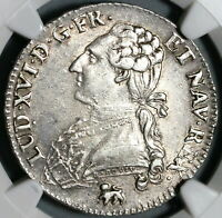 1791/0-A NGC XF 40 Louis XVI France 1/2 Ecu Unpublished Silver Coin (199111803C)