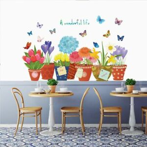 Potted Flowers Wall Stickers Color Butterfly Wallpaper Background Mural Decals