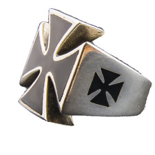 Iron Cross Ring 925 solid sterling silver Maltese German Metal Biker feeanddave