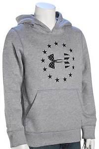 Under Armour Kid's Freedom Logo Rival Hoody - True Grey Heather / Black - New