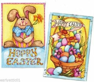 Happy Easter Bunny And Basket Two Sided Garden Flag 2 Different designs One Flag