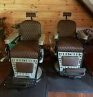 2 antique barber chairs for sale Emil J. Paidar