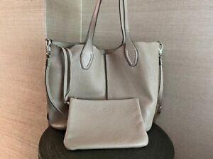 Tod's Soft Leather Shopper Bag Medium Designer Beige Nude
