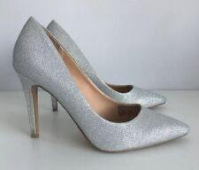Duna Head Over Heels Silver addyson Point Toe Tacón Stiletto Tribunal Zapatos UK 7/40