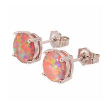 Women's Fashion 925 Silver Round Fire Opal Ear Stud Hoop Earrings Bridal Jewelry