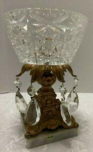 """9"""" Hollywood Regency Cut Crystal BOWL Italy Marble Base Prisms Gilt Pedestal Vtg"""