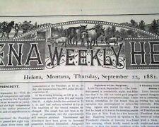 President JAMES A. GARFIELD Assassination Death 1881 Helena Montana Newspaper