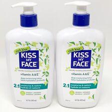2 Lot Kiss My Face Moisturizer Vitamin A & E Body Lotion 16oz New Bottle w/ Pump