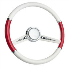 CUSTOM STEERING WHEEL OLD SCHOOL HOT ROD/ Simply White & Risky Red Split Gazelle