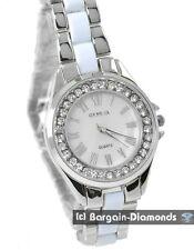 ladies white silver tone ceramic look dress watch designer style metal bracelet