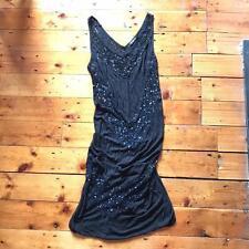 All Saints Torvill Sequined Embellished Sheer Dress Size 12 Sparkle LBD