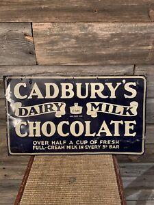 Vintage Cadbury's Chocolate Bar Tin Embossed Advertising Sign