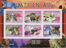 Guinea Wild Animals 2009 Mnh Cats in Asia Marbled Mountain Cat Fauna 6v M/S