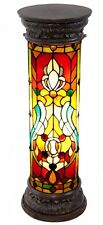 Fleur De Lis Stained Glass Lit Pedestal