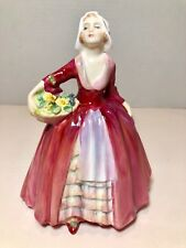 "ROYAL DOULTON #HN1537 JANET RED DRESS & FLOWER BASKET 6 1/2"" FIGURINE 1932-1995"