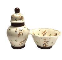 Vintage Lidded Ginger Jar Urn Vase With Matching Bowl Signed Dedication 1981