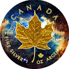 2017 1oz .999 Canadian Maple Leaf Nebula Galaxy Background Gold Gilded