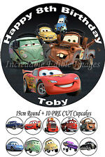 Cars Edible Cake Topper Party Decoration + 10 Cupcake Toppers PRECUT