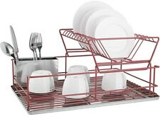 Stainless Steel Dish Drainer With Drip Tray And Cutlery Holder (2 Tier Red)
