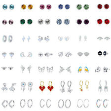 BAMOER European Fine 925 Sterling silver CZ Stud Hoop Earrings For Women Jewelry