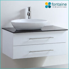 Bathroom Vanity White Wall Hung Ceramic Basin Stone Top 900 NEW Modern Stunning!