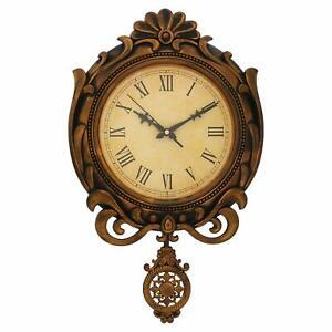 Beautiful Handmade Plastic Pendulum Wall Clock Brown Antique Finish 20x12 Inch