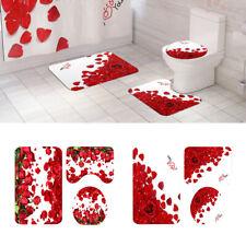 3Pcs Rose Pattern Toilet Lid Cover Bath Rug Set Shower Ensemble Absorbent