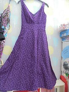Vintage Laura Ashley purple embroidered flower dress size 8