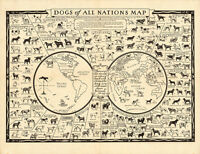 Dogs of All Nations Map 1936 75cm x 57.8cm Quality Art Print
