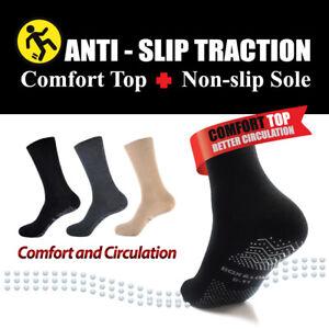 SOX&LOX - [Anti-Slip Traction] Diabetic Friendly Comfort Top Non-Slip Crew Socks